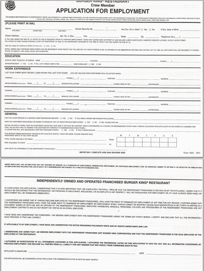 Burger King Application Online Job Employment Form – Printable Application for Mployment