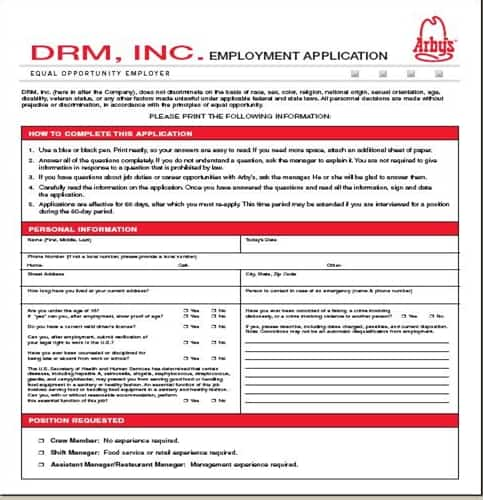 ArbyS Application  Online Job Employment Form