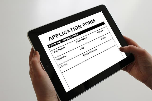 application form in iPad