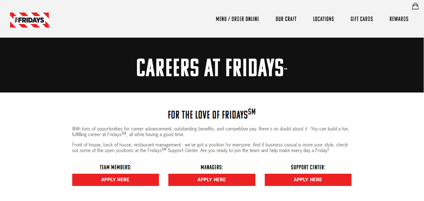 TGI Fridays Job Openings Website