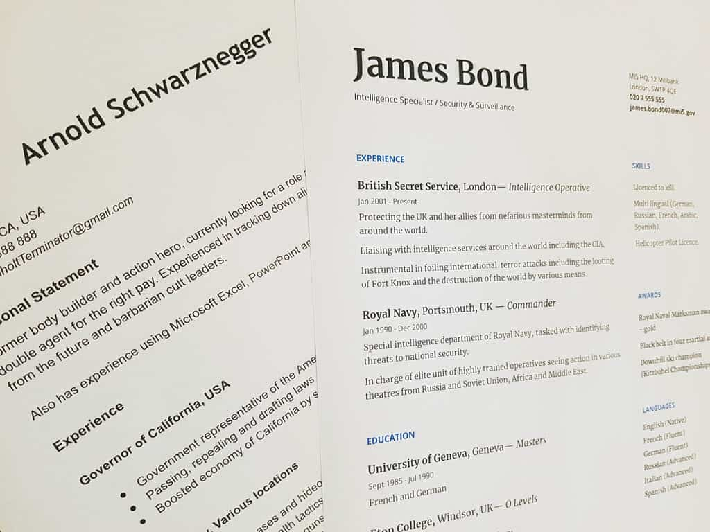 arnold scwarznegger and james bond sample resume