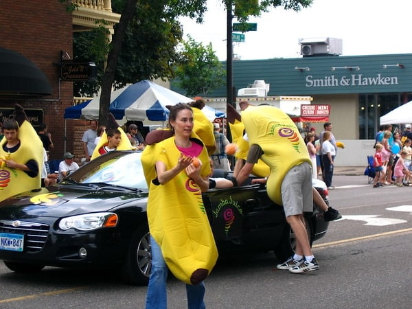 jamba juice workers wearing a fruit costumes